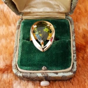 PEAR-SHAPED PERIDOT COLOR ADJUSTABLE RING